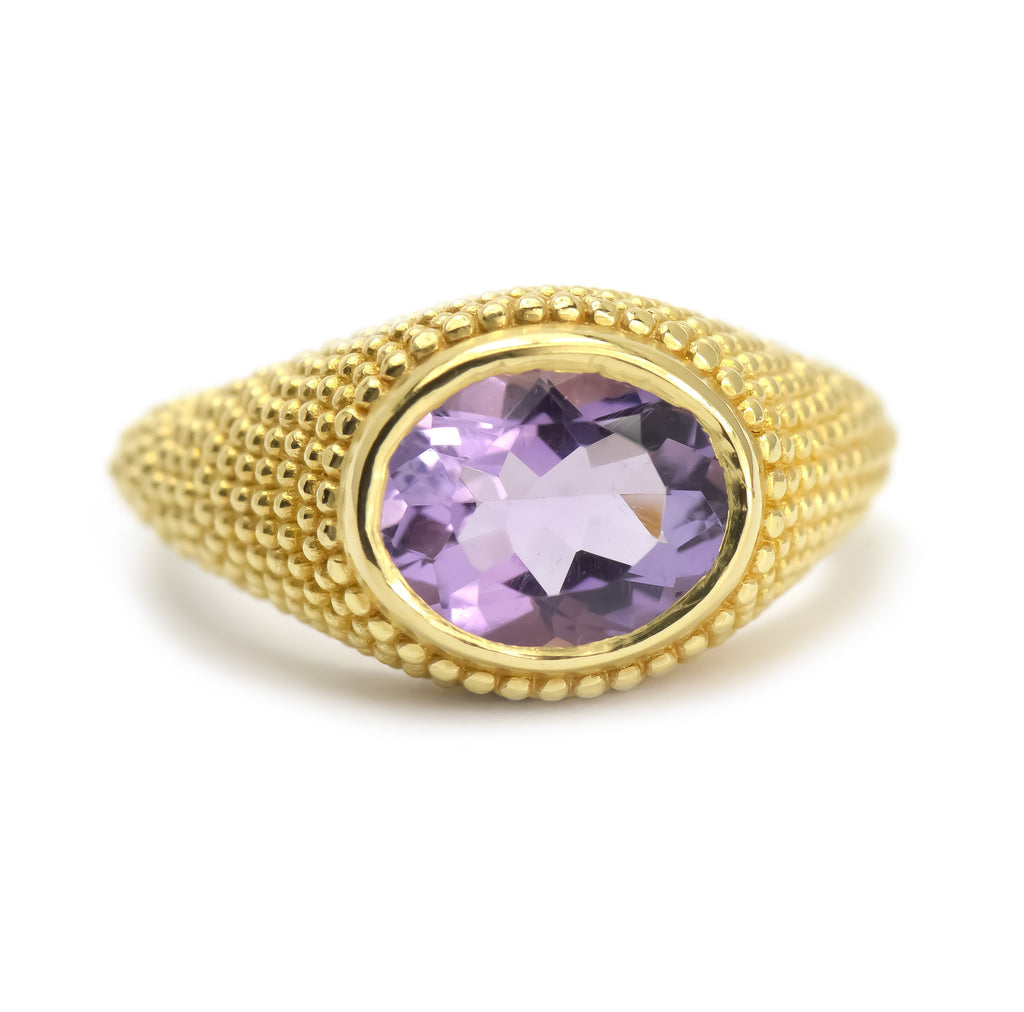 Nubia Oval Amethyst Yellow Gold Ring Size 7US - Manari Design