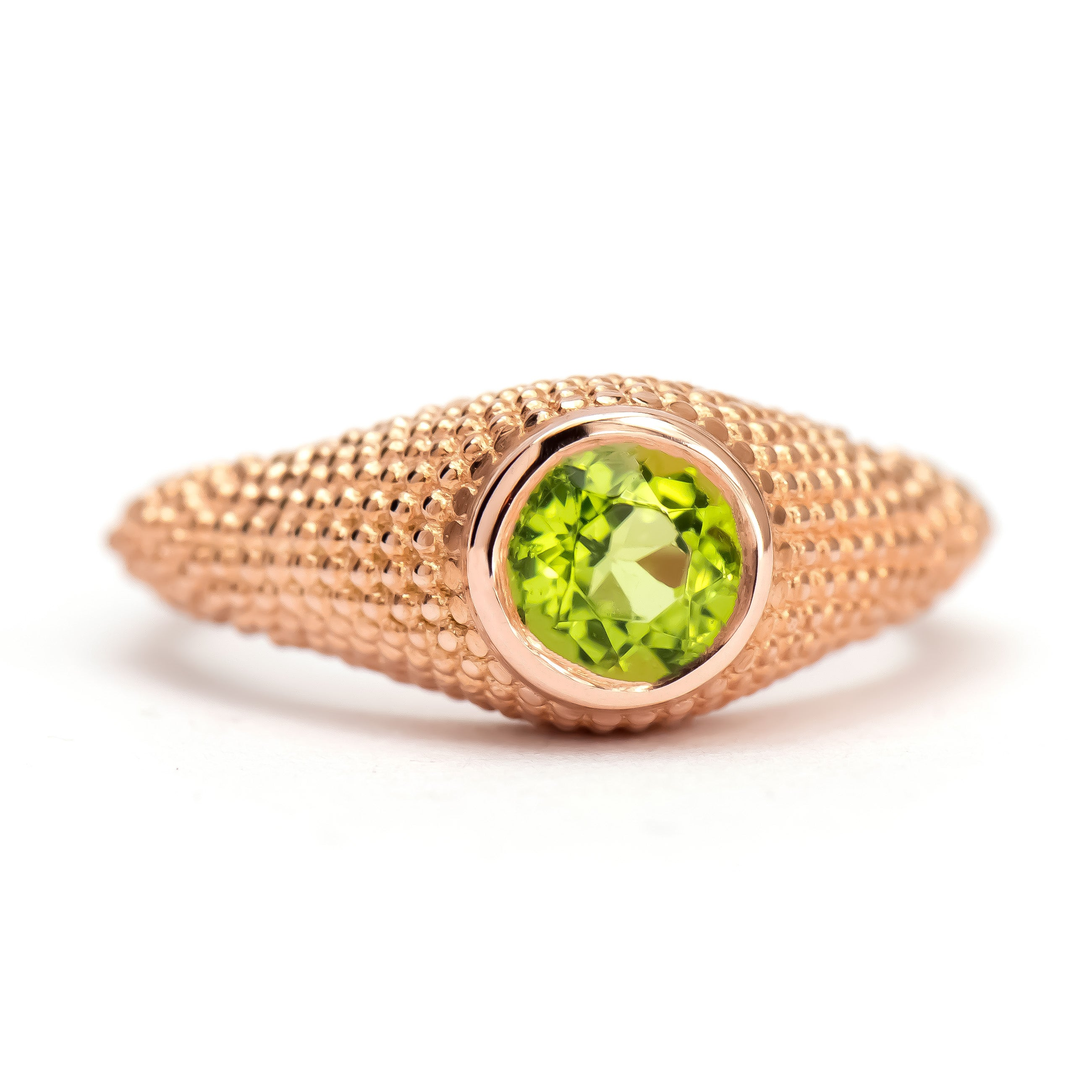 Nubia Round Peridot Rose Gold Ring Size 7US - Manari Design