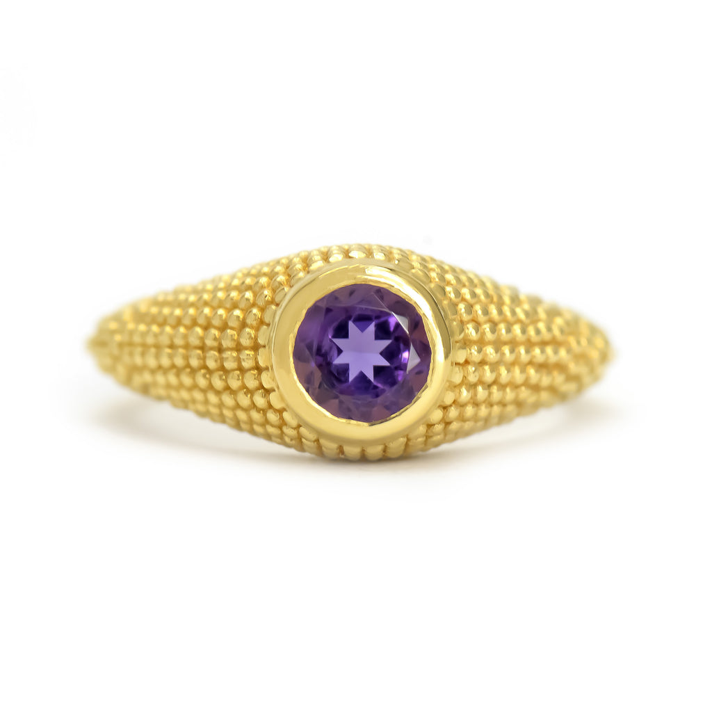 Nubia Round Amethyst Yellow Gold Ring Size 7.25US - Manari.eu