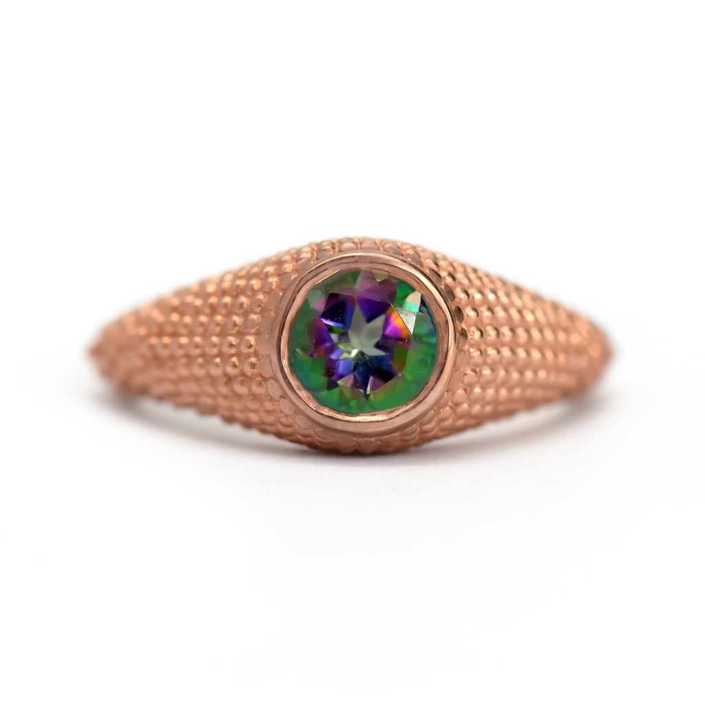 Nubia Round Mystic Topaz Rose Gold Ring Size 7.25US - Manari Design