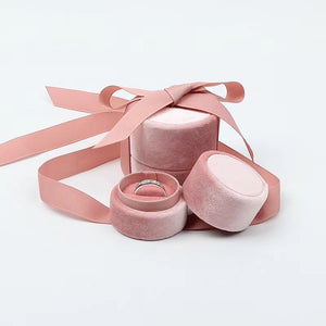 Velvet Pink Round Ring Box with Bow - Manari Design