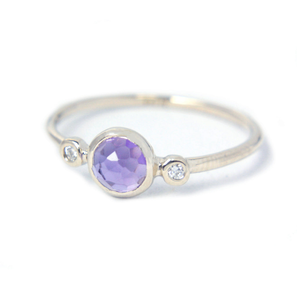 Amethyst and Diamond Ring 14k Gold - Manari Design
