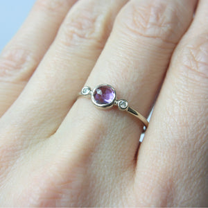 Amethyst and Diamond Ring 14k Gold - Manari.eu