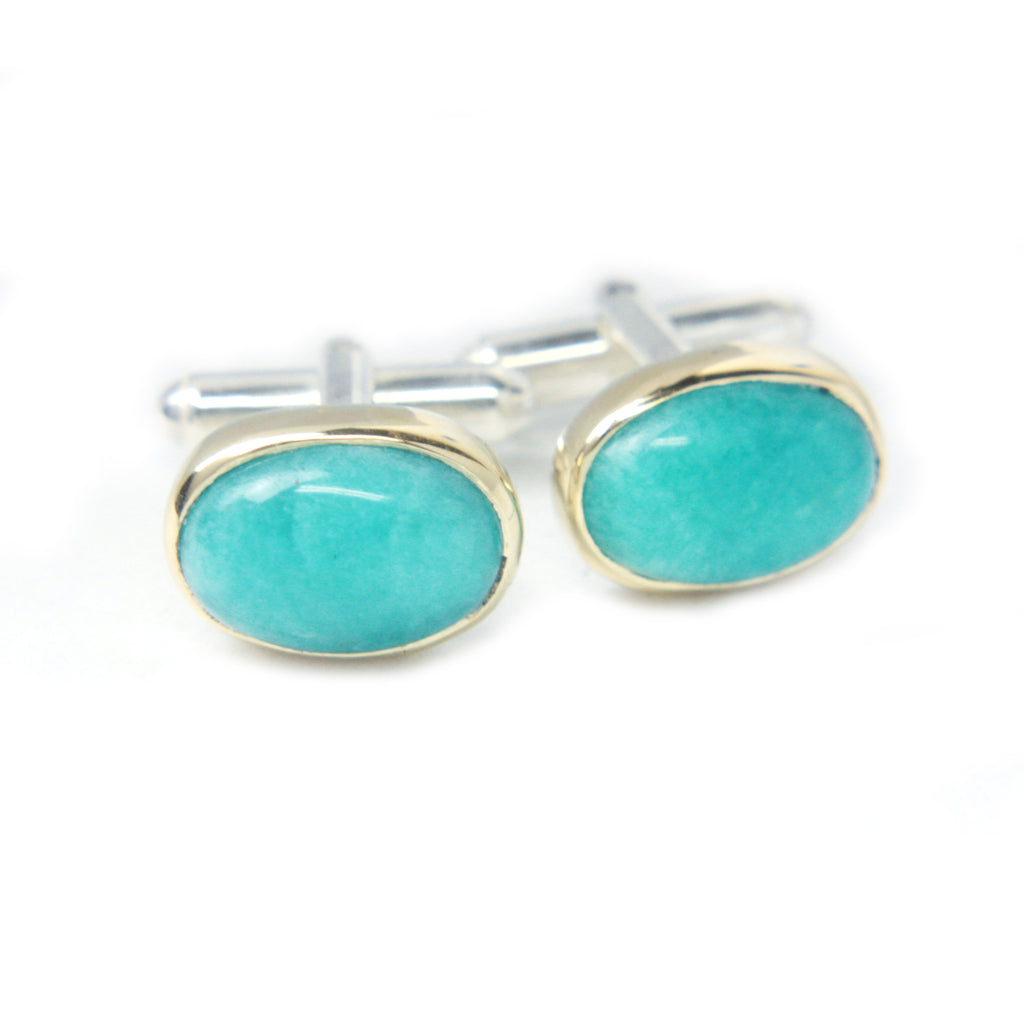 Gold & Sterling Silver Cufflinks with Amazonite - Manari Design