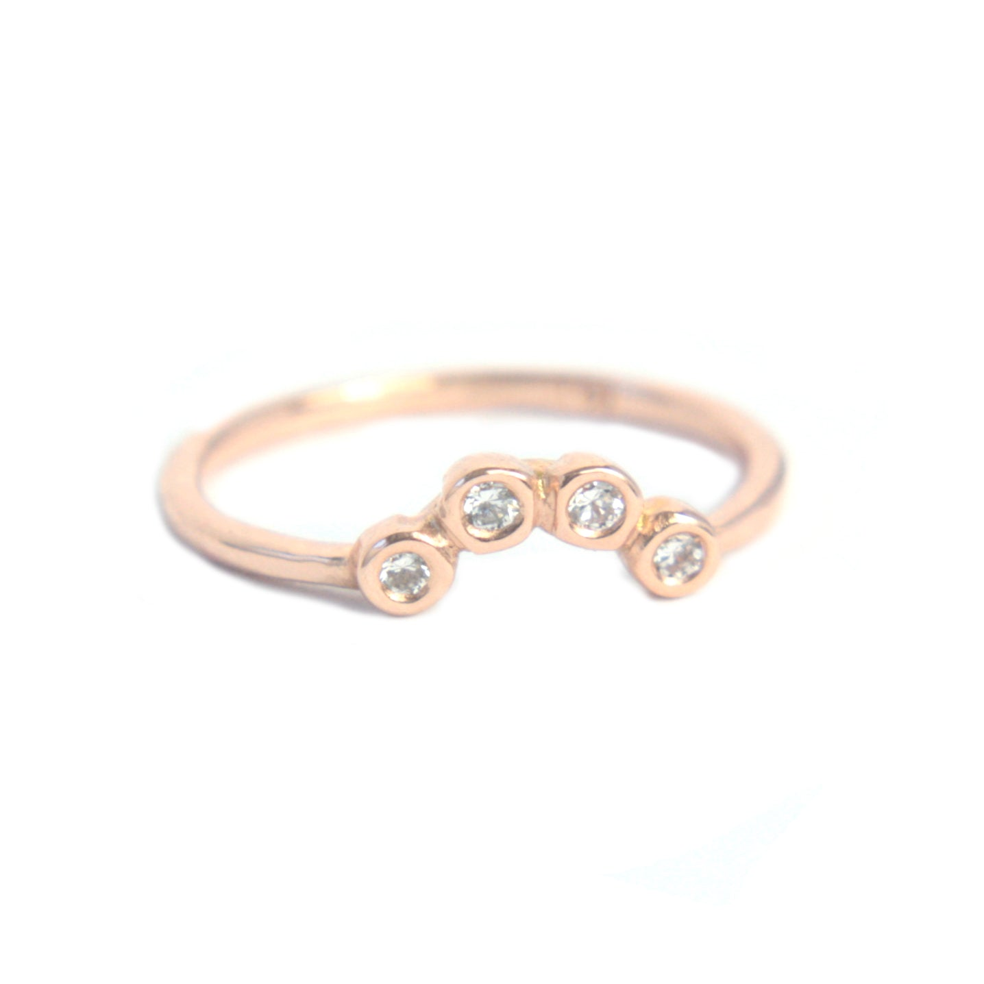 Diamond Wave Shape Ring 14k Gold Four Diamond Ring - Manari Design