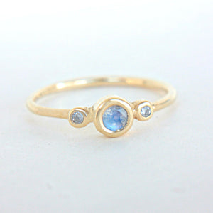 Moonstone and Diamond Wedding Set 14k Gold - Manari Design