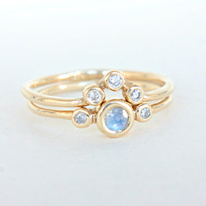 Moonstone and Diamond Wedding Set 14k Gold - Manari.eu