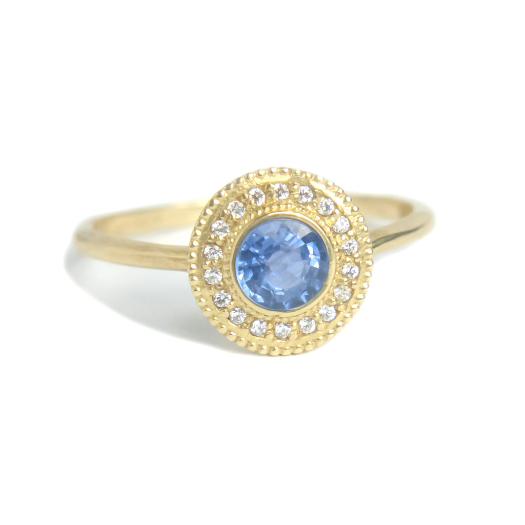 Malika Blue Sapphire Diamond Ring - Manari Design