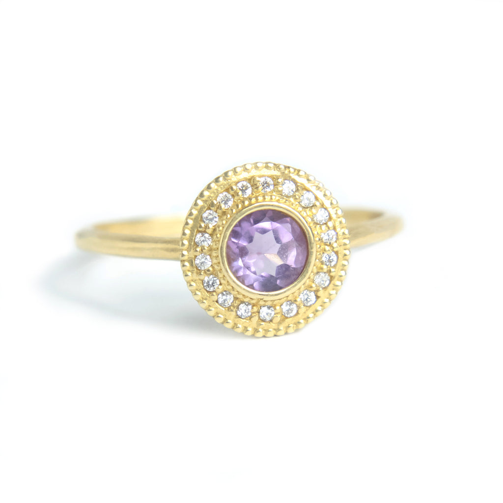 Malika Amethyst Diamond Ring - MANARI.eu