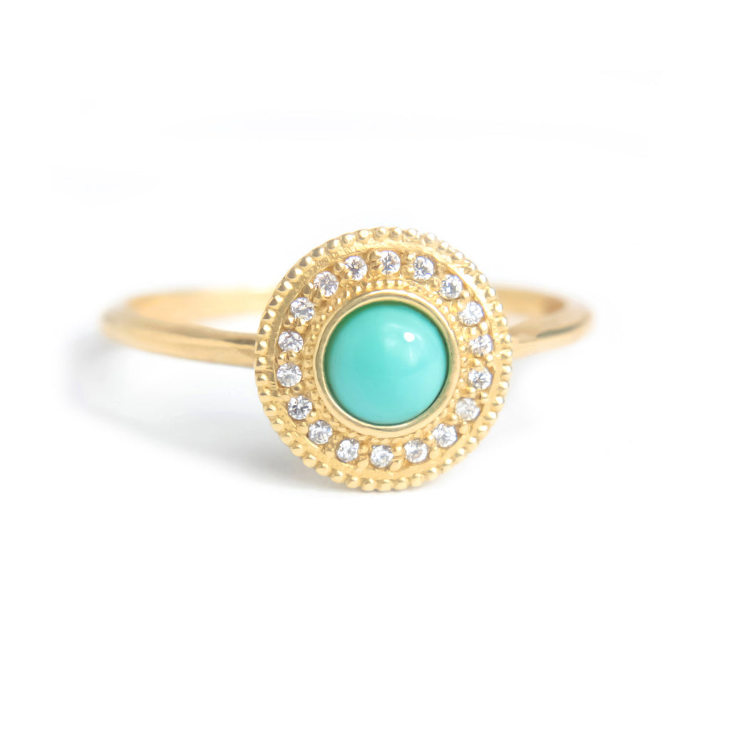 Malika Turquoise Diamond Ring - Manari Design