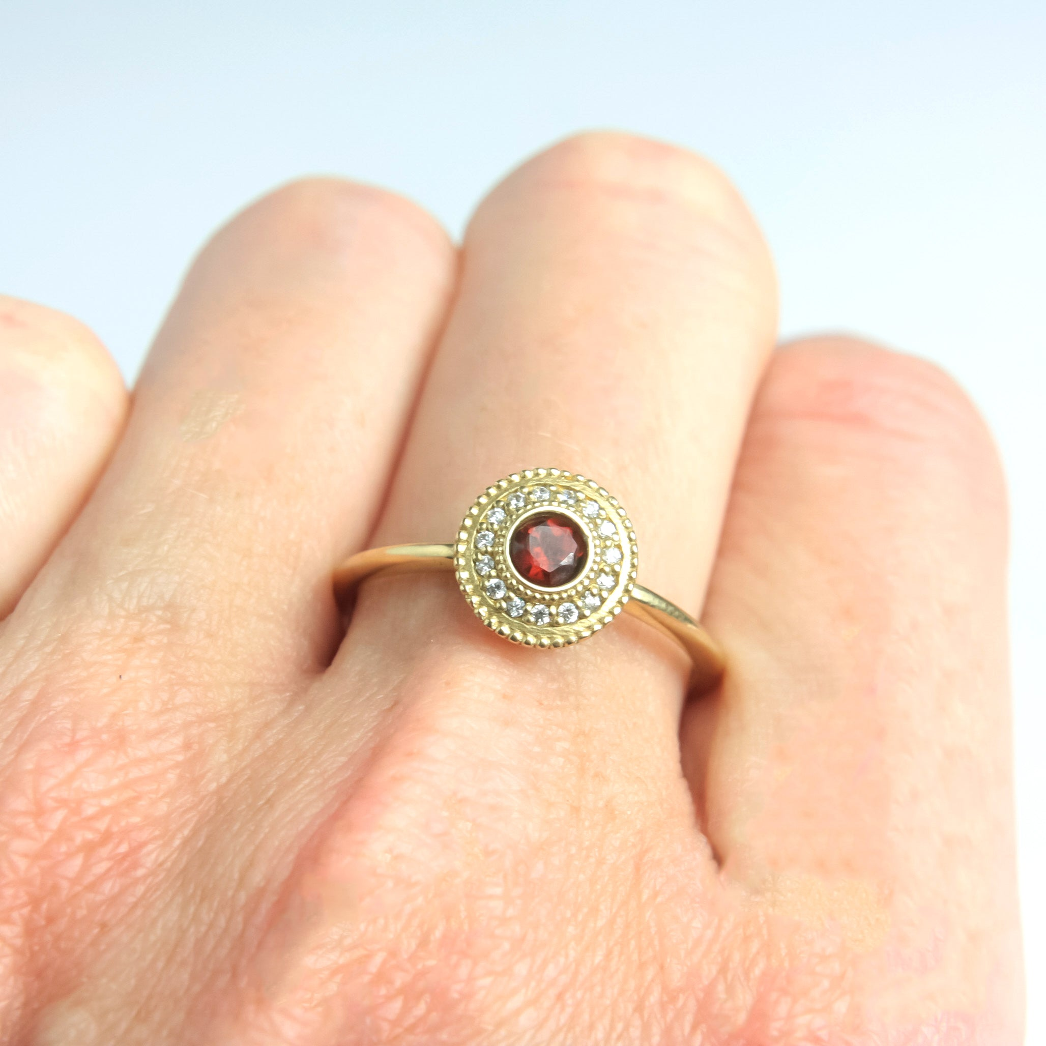 Leila Garnet Diamond Ring - Manari Design