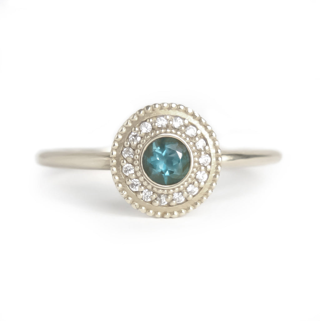 Leila Blue Topaz Diamond Ring - Manari Design