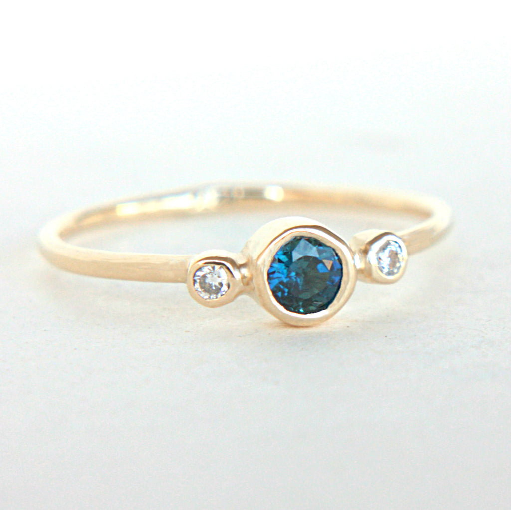 Blue Sapphire and Diamond Ring 14k Gold - Manari Design