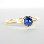 Blue Sapphire Rose Cut 14k Yellow Gold Ring - Manari Design