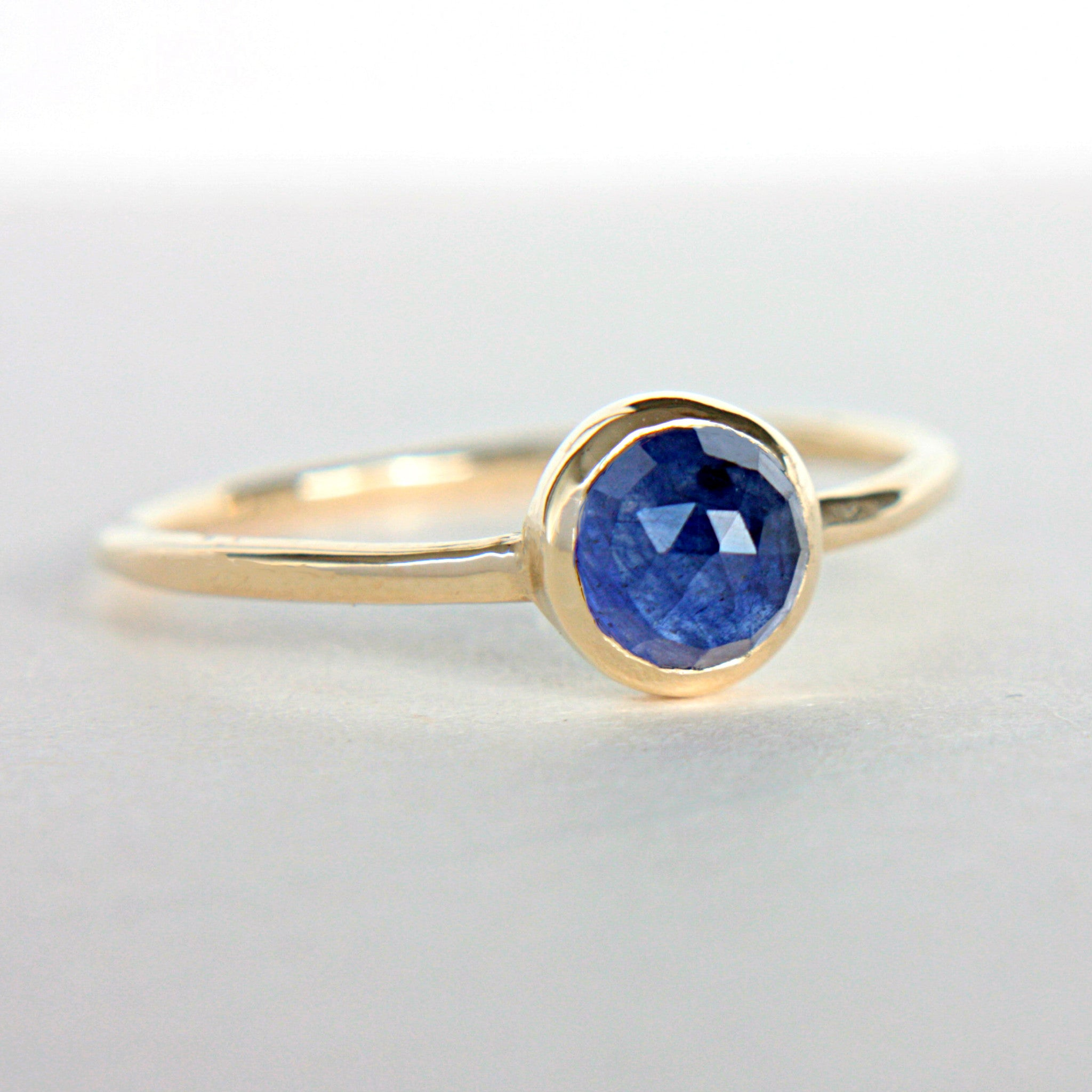 Blue Sapphire Rose Cut 14k Gold Ring - Manari Design