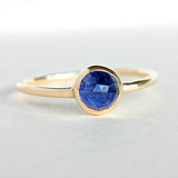 Blue Sapphire Rose Cut 14k Yellow Gold Ring