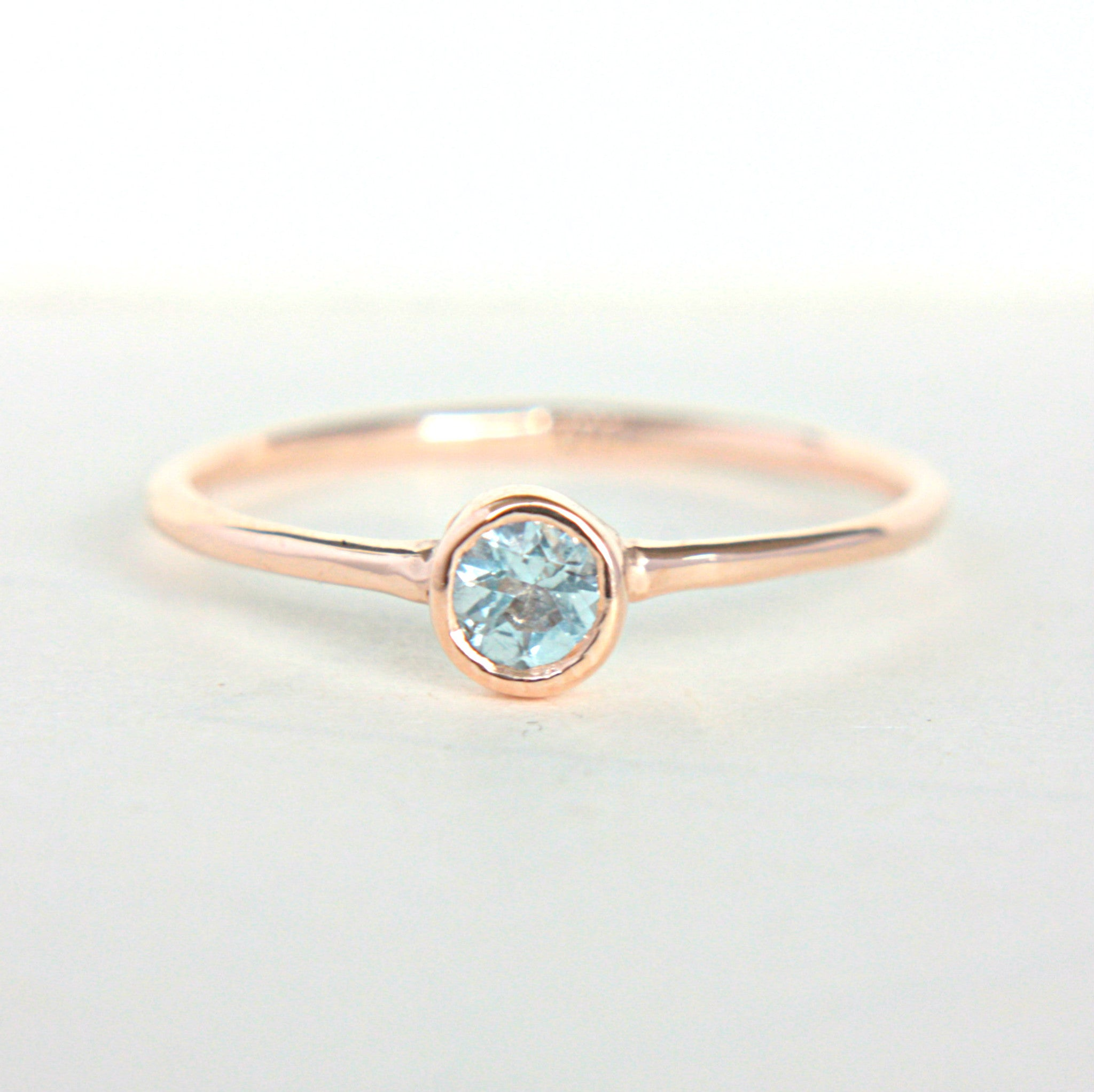 Aquamarine 14k Rose Gold Ring - Manari Design