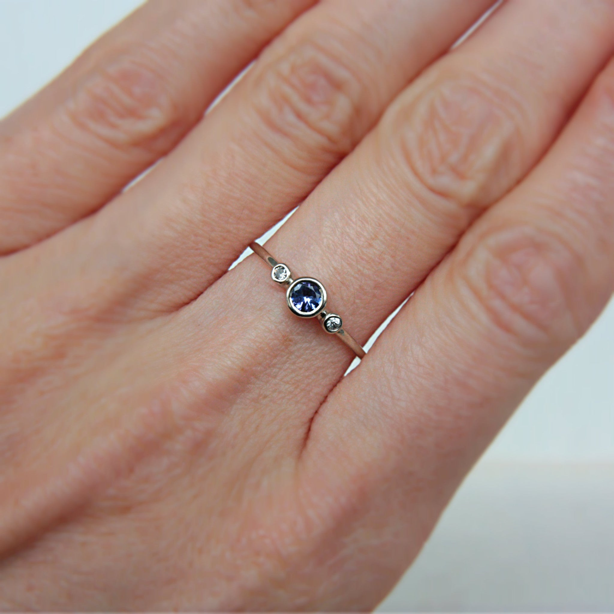 Tanzanite and Diamond Ring 14k White Gold - Manari Design