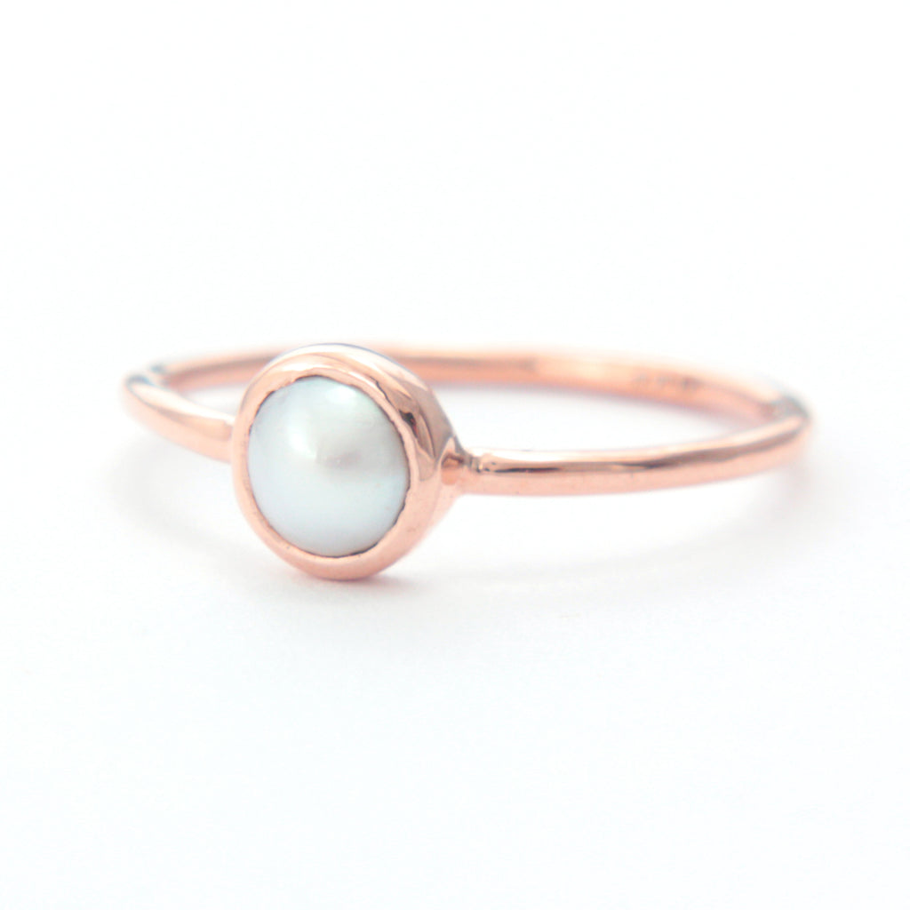 White Pearl Gold Ring 14k Rose Gold - Manari Design