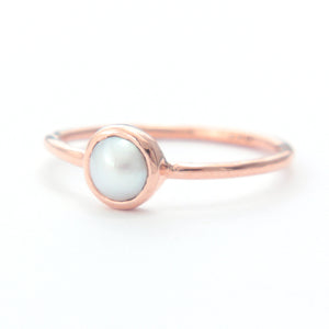 White Pearl Gold Ring 14k Gold - Manari Design