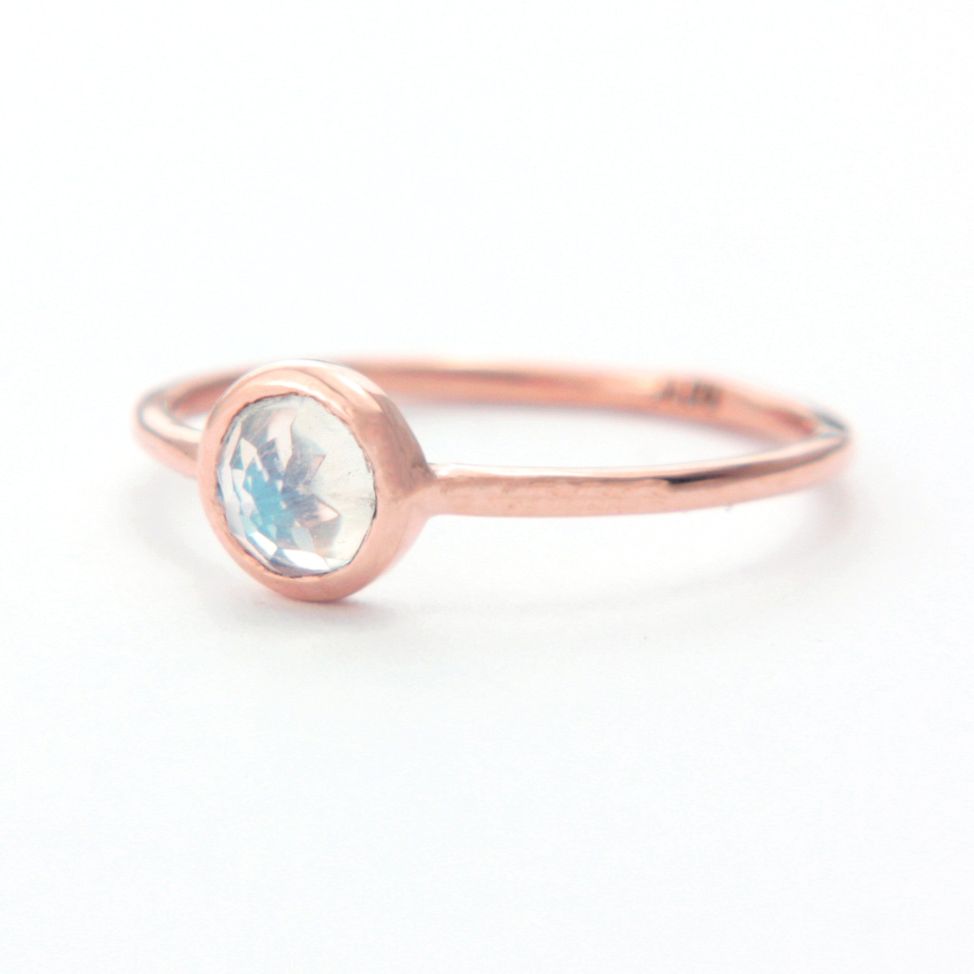 Rose Cut Moonstone Gold Ring 14k Rose Gold - Manari Design