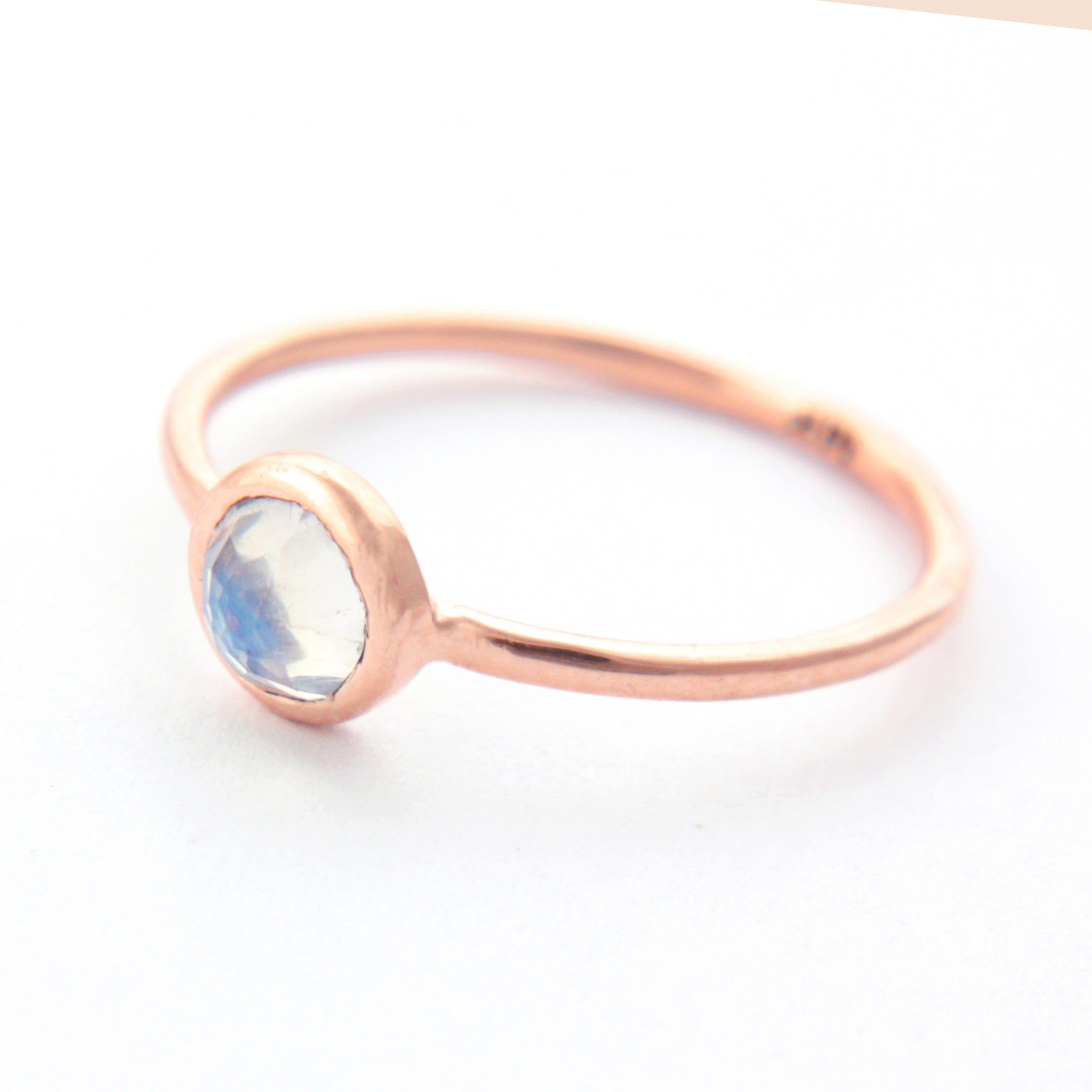 Rose Cut Moonstone Gold Ring 14k Gold - Manari Design
