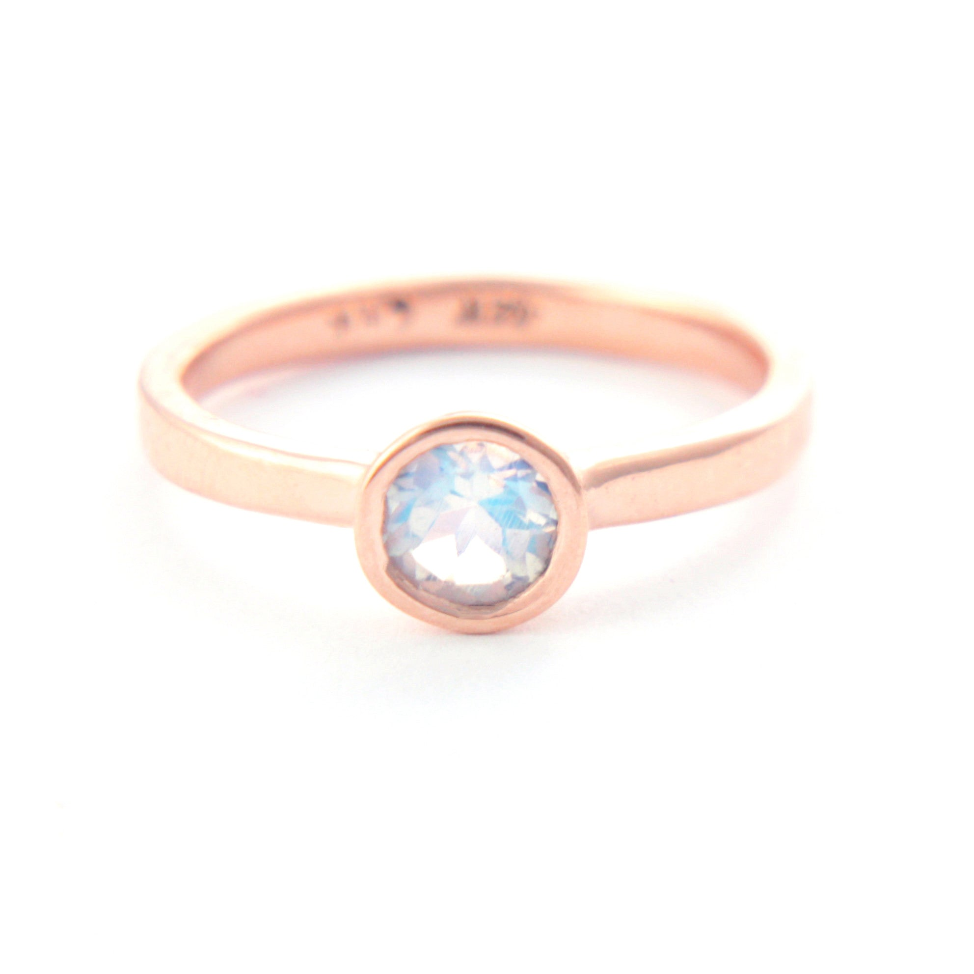 Moonstone Rose 14k Gold Ring
