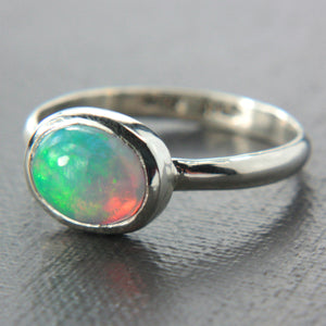 Natural Opal Ring Sterling Silver - Manari.eu