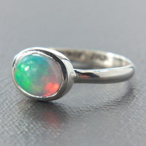 Natural Opal Ring Sterling Silver