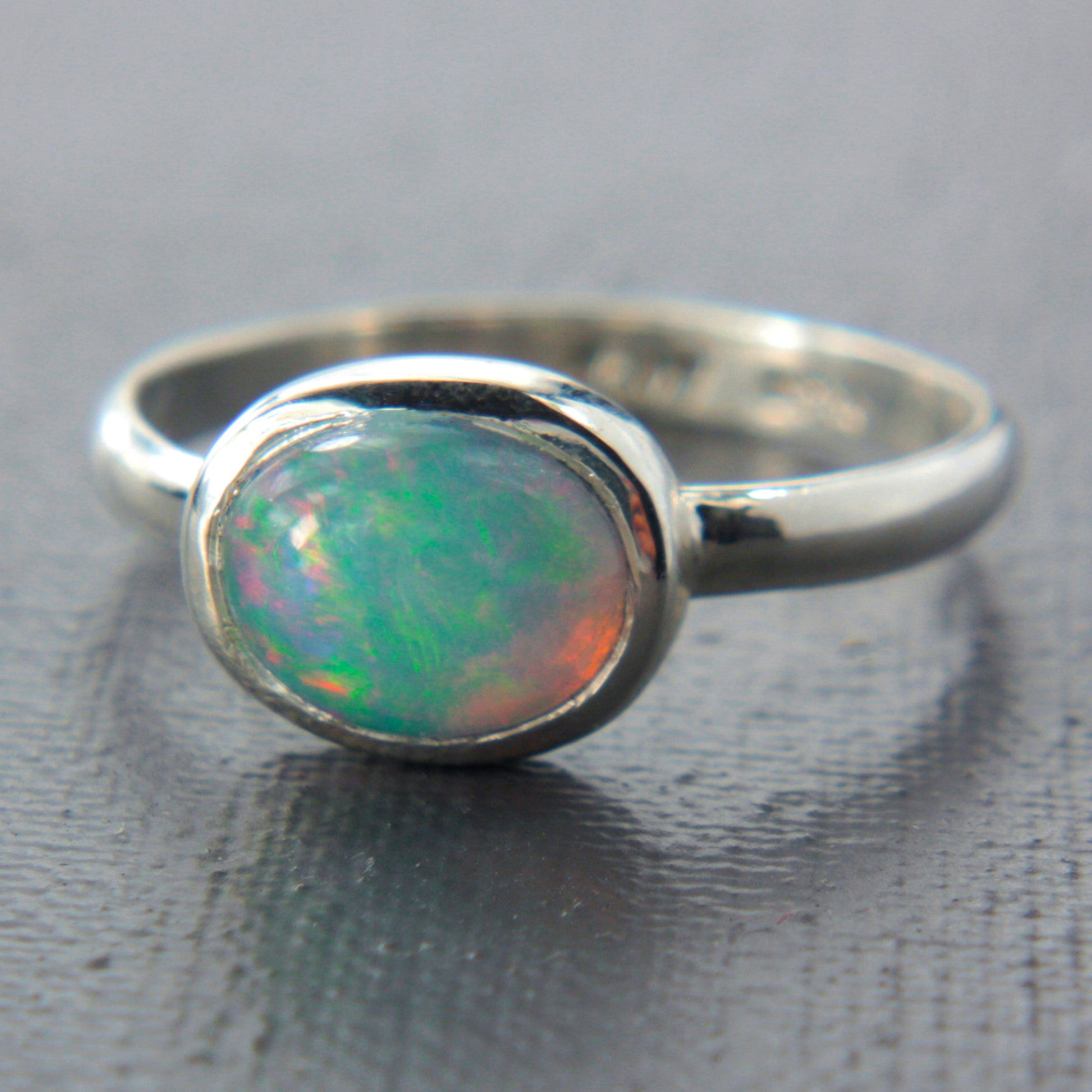 Natural Opal Ring Sterling Silver - Manari Design