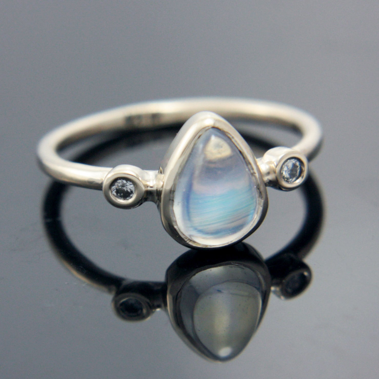 Pear Moonstone and Diamond Ring 14k White Gold - Manari Design