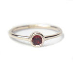 Red Garnet 14k White Gold Ring - Manari Design