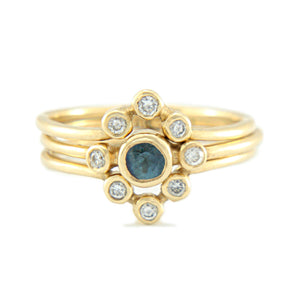 Blue Sapphire and Diamond Wedding Set 14k Yellow Gold Triple Ring Set - Manari Design