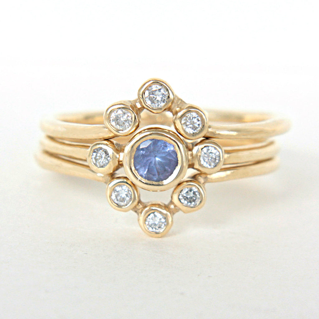 Tanzanite and Diamond Wedding Set 14k Gold Triple Ring Set - MANARI.eu