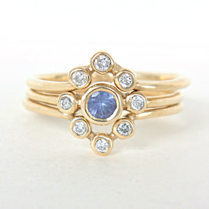 Tanzanite and Diamond Wedding Set 14k Yellow Gold Triple Ring Set