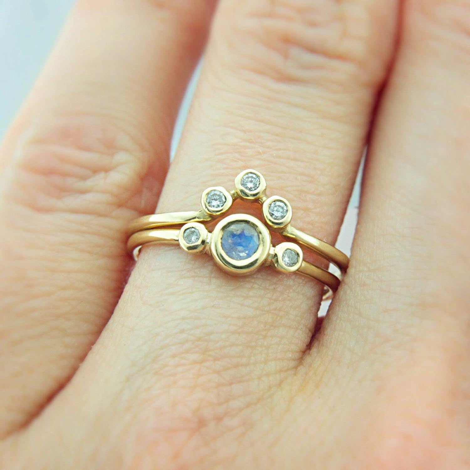 Moonstone and Diamond Wedding Set 14k Gold Triple Ring Set - Manari.eu