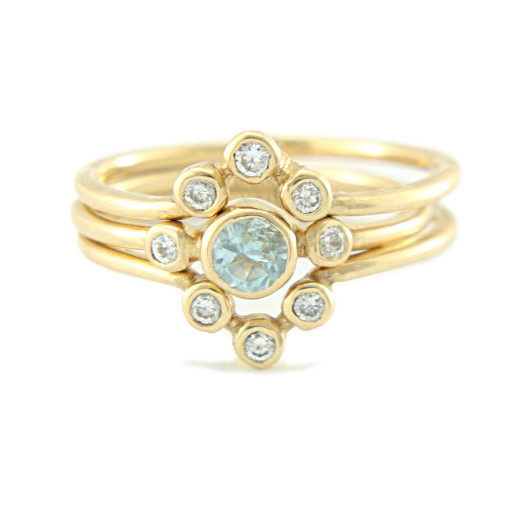 Aquamarine and Diamond Ring 14k Wedding Set Triple Ring Set - Manari Design