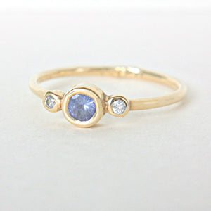 Tanzanite and Diamond Wedding Set 14k Gold - MANARI.eu