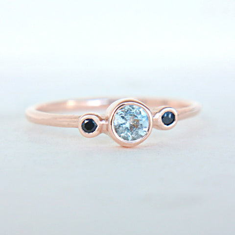 Aquamarine and Blue Sapphire Ring 14k Rose Gold