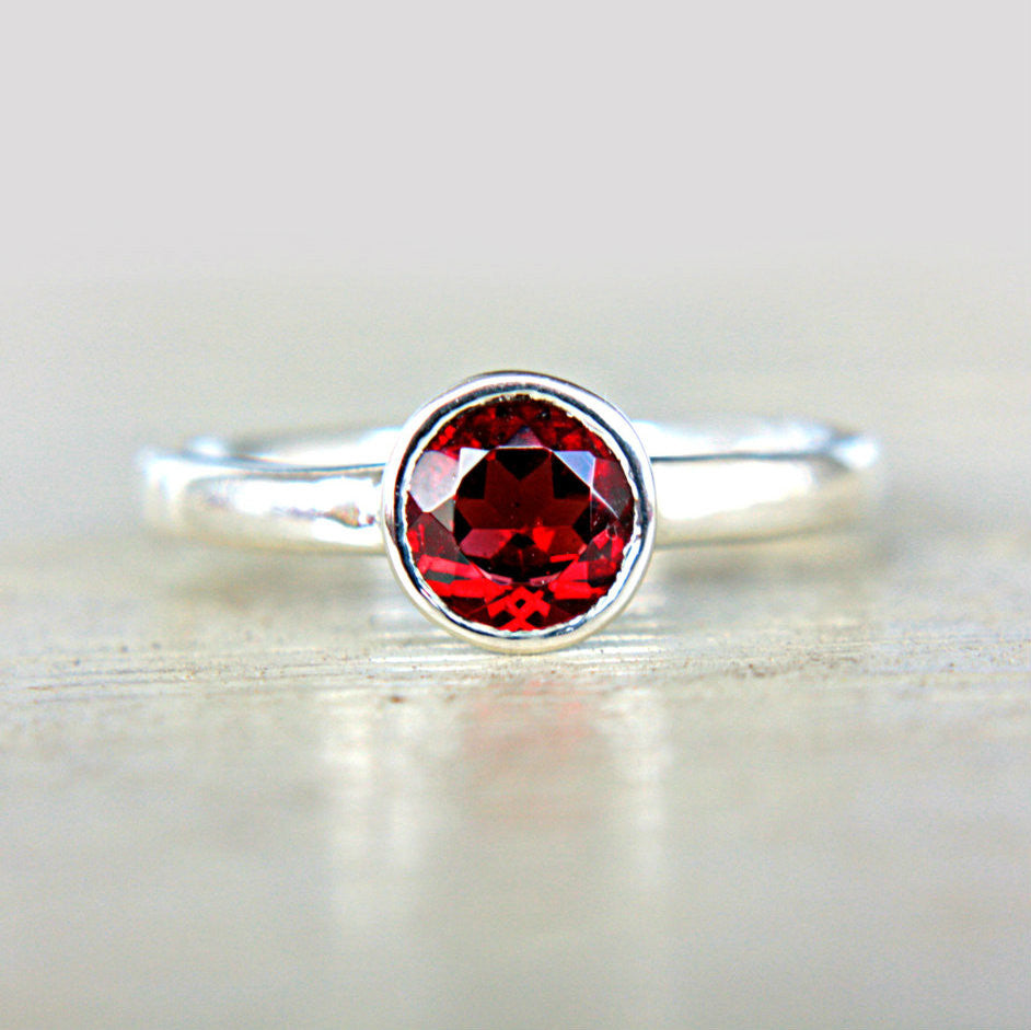 Red Garnet Sterling Silver Ring