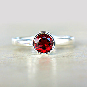 Red Garnet Sterling Silver Ring - Manari Design