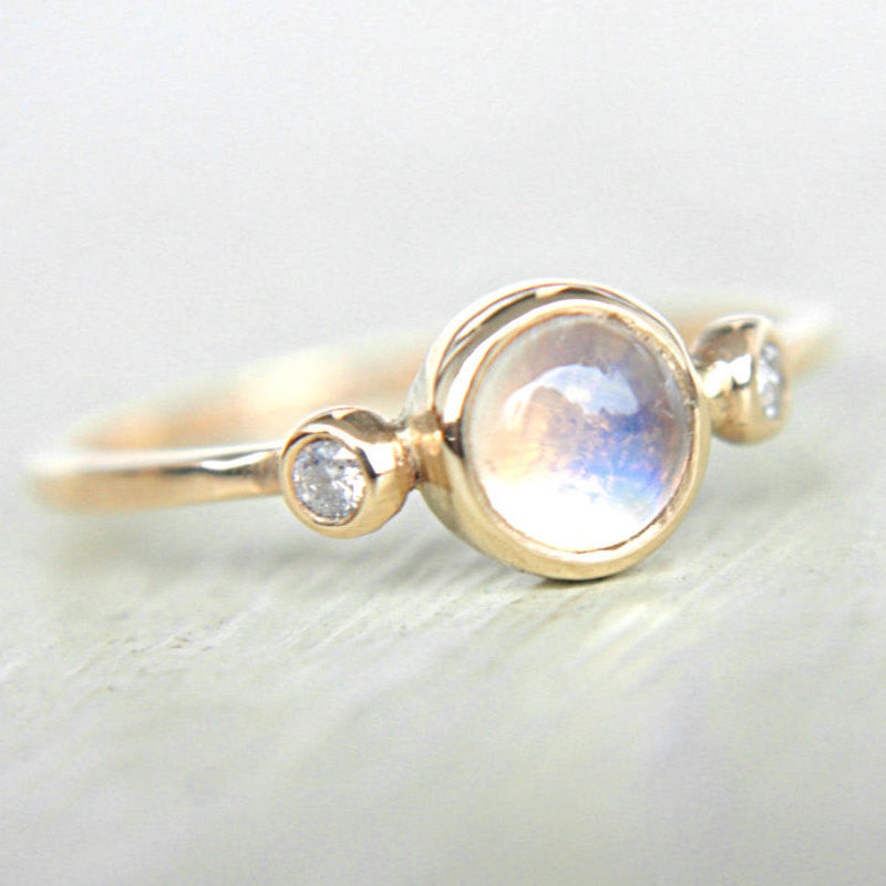 Rainbow Moonstone and Diamond Ring 14k Yellow Gold - Manari Design