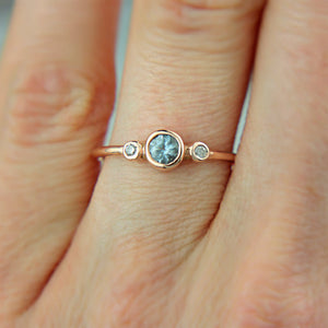 Aquamarine and Diamond Ring 14k Wedding Set Gold - MANARI.eu