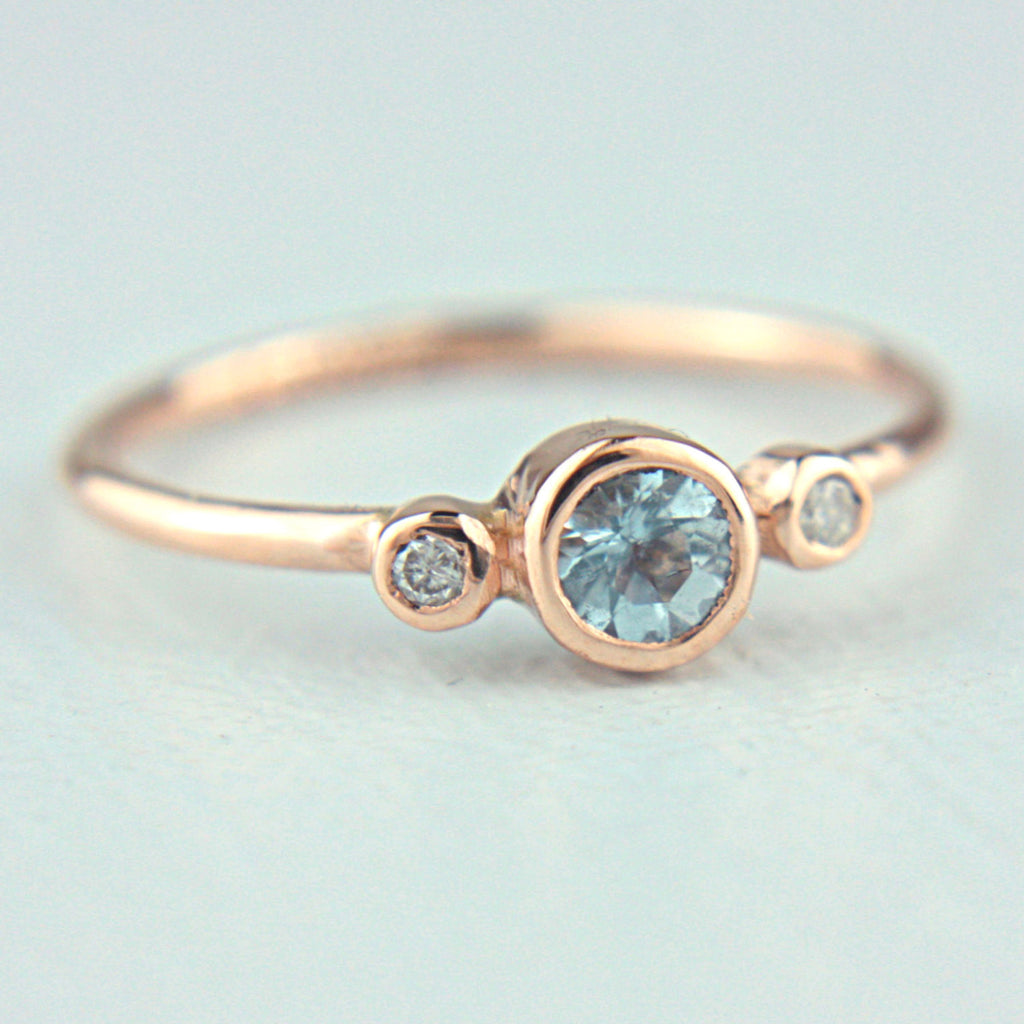 Aquamarine and Diamond Ring 14k Rose Gold - Manari Design