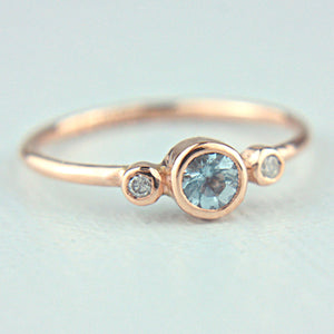 Aquamarine and Diamond Ring 14k Gold - Manari.eu