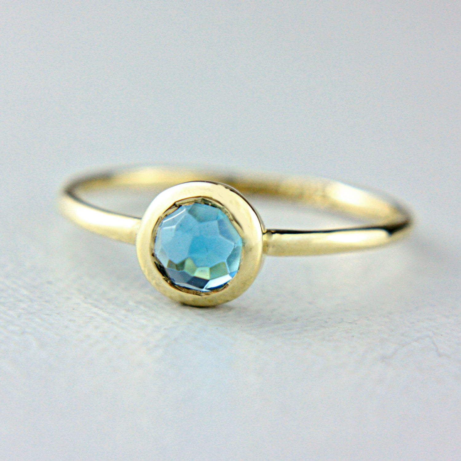 Blue Rose Cut Topaz 14k Rose Gold Ring - Manari Design