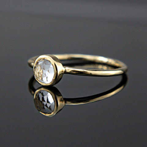 White Topaz 14k Yellow Gold Ring