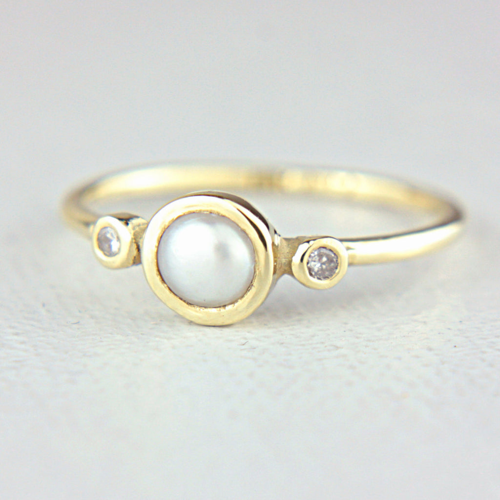 White Pearl and Diamond 14k Gold Ring - Manari Design