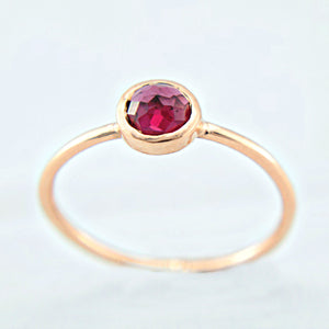 Rhodolite Rose Cut Garnet Ring 14k Gold - Manari Design