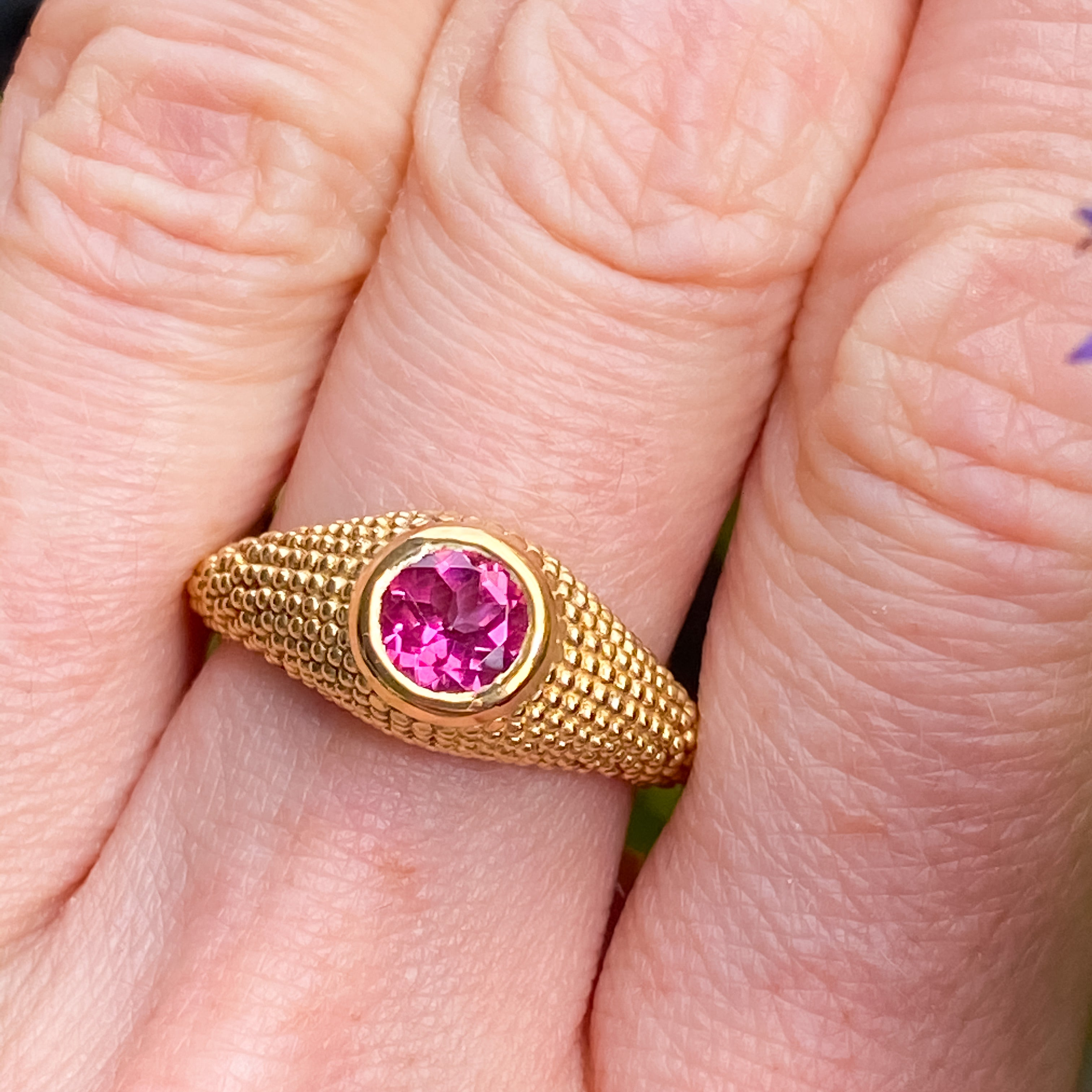 Nubia Round Pink Topaz Yellow Gold Ring Size 7US